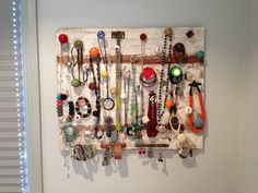 Vintage knob jewellery organiser for the wall