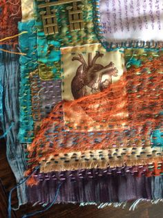 """""""Heart Sutra: Dharma Gate"""" hand-stitched textile collage by Natalie Turner-Jones"""