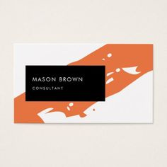 #salon - #Consultant Modern Orange Diagonale Black Rectangle Business Card