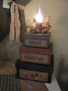 Primitive Autumn Square Stack Box Light | New Offerings | Gainers Creek Crafts