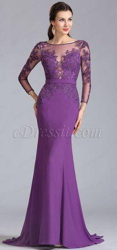 eDressit Long Sleeves Applique Purple Evening Dress Formal Dress We share the most beauti Purple Evening Dress, Formal Evening Dresses, Formal Gowns, Elegant Dresses, Evening Gowns, Dress Formal, Purple Maxi, Formal Dresses With Sleeves, Robes Glamour