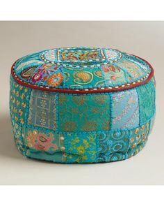 Love this idea   Add casual seating to any space with this pouf! Get it here: http://www.bhg.com/shop/world-market-small-turquoise-pouf-p51fbda33e4b072cb929dd533.html?mz=a
