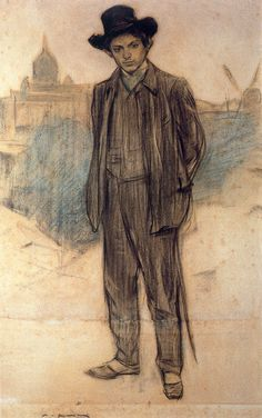 "amare-habeo: "" Ramon Casas (Catalan-Spanish, Portrait of Pablo Picasso, 1900 Pencil on paper "" Expo Picasso, Kunst Picasso, Picasso Drawing, Picasso Art, Picasso Paintings, Picasso Blue, Spanish Painters, Spanish Artists, Ramones"