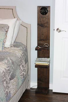 what to do when you can t find the right nightstand, bedroom ideas, painted furniture, shelving ideas, woodworking projects Tiny Apartments, Tiny Spaces, Wall Spaces, Diy Nightstand, Floating Nightstand, Nightstands, Floating Shelves, Small Space Living, Living Spaces