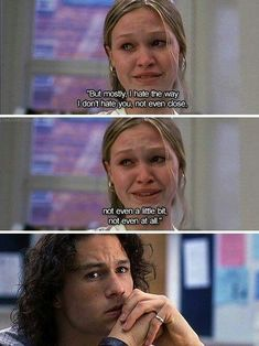 Walk to Remember Oh I love 10 things I hate about you. It always makes me sad to watch it though because of Heath.Oh I love 10 things I hate about you. It always makes me sad to watch it though because of Heath. Series Quotes, Tv Quotes, Sad Movie Quotes, Classic Movie Quotes, Favorite Movie Quotes, Movie Quotes About Love, Funny Quotes From Movies, Famous Quotes From Movies, Quotes On Love
