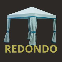 The Redondo Cabana, available in three color finishes of aluminum, black, or ivory, creates a stylish shaded covering with additional privacy fabric curtains.