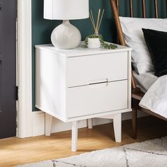 Sonoma White Nightstand By Bellamy Studios White Nightstand, Wood Nightstand, Nightstands, Bedroom Furniture For Sale, Bedroom Night Stands, New Room, Modern Bedroom, Decoration, Studios