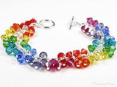 Rainbow Fiesta Swarovski Crystal Charm by whimsydaisydesigns, $44.00