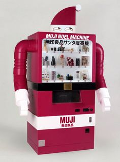 Muji Christmas Machine - Barcelona, Spain just got an extra dose of Christmas with the Muji Christmas Machine. A specialized vending machine, it encapsulates Muji's idea th. Have A Happy Holiday, Happy Holidays, Muji, Futuristic Design, Editorial Design, Art Direction, Creepy, Santa, Japan