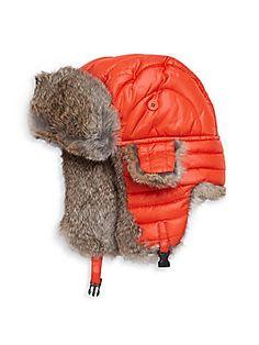 Crown Cap Puffle Rabbit Fur-Trimmed Trapper Hat