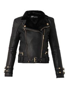 Balmain Leather and shearling biker jacket on shopstyle.com