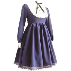 Partiss Women's Long Sleeve Lace Gothic Lolita Dress ($70) ❤ liked on Polyvore featuring dresses, purple lace dress, lacy dress, gothic dress, purple dress and goth dress