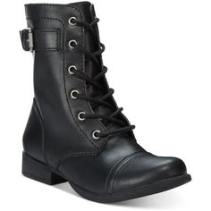 American Rag Faylln Combat Booties, ($45) ❤ liked on Polyvore featuring shoes, boots, ankle booties, black, combat boots, wide booties, toe cap boots, combat booties and black boots