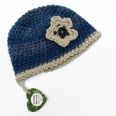 12 to 24 months Crochet hat with Flower Blue Grey