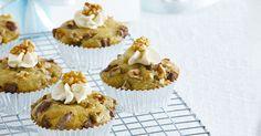 Banana Thrills Crunchy Muffins on www. Nestle Cream, Refrigerator Cake, Banana Cupcakes, Melted Butter, Cupcake Recipes, Graham, Muffins, Tasty, Baking