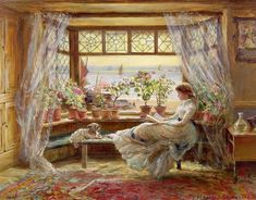 Reading by the Window by Charles James Lewis Hastings (b. 1830 d. 1892), a pleasing painter in oil and water-colour. He made his first appearance at the Royal Academy in 1853 and exhibited too at the British Institution and at Suffolk Street. During the latter part of his life he contributed mainly to the Royal Institute, of which he became a member in 1882.