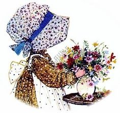 Holly Hobbie with Flower Arrangement.