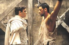 """Gladiator"" movie still, 2000.  L to R: Joaquin Phoenix, Russell Crowe."