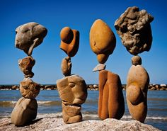 Equilibri by Michael Grab Balanced stones Cattolica, Italy, 2012 12 Amazingly Creative Examples of Environmental Art - My Modern Met Rock Sculpture, Sculptures Céramiques, Outdoor Sculpture, Outdoor Art, Modern Sculpture, Michael Grab, Performance Artistique, Stone Balancing, Environmental Sculpture