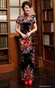 Traditional Qipao Ink Floral Painting Cocktail Cheongsam Gown