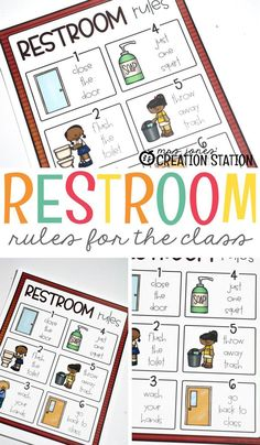 Restroom routines cannot be ignored in an early education classroom. This Restroom Rules poster is a colorful and playful reminder on proper restroom behavior and hygiene. Free Education, Early Education, Future Classroom, School Classroom, Classroom Ideas, Toddler Classroom, Beginning Of The School Year, First Day Of School, Classroom Organization