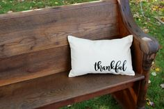 Thankful Pillow- Farmhouse style collection- home decor by reprizedesigns on Etsy