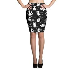 The Word For Cat White On Black Pencil Skirts – Comfy Cat Couture