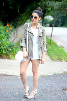 Jacket: C/O Charlotte Russe(shop similar)/ White Tee, Bag & Sunnies: H Shorts: Forever21/ Shoes: C/O YesWalker/ Initial Necklace:  Max & Chloe Blogger Necklace, Ring & Bracelet:  Love Always
