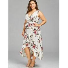Plus Size High Low Long Floral Dress -