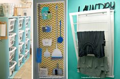 3 Great Laundry Room Upgrades: Which One Do You Wish You Had? These laundry room organization ideas are easy and stylish. Make laundry less of a chore with these tips and projects from HouseLogic. Teal Laundry Rooms, Laundry In Bathroom, Small Laundry, Basement Laundry, Laundry Area, Laundry Tips, My Home Design, House Design, Laundry Room Organization