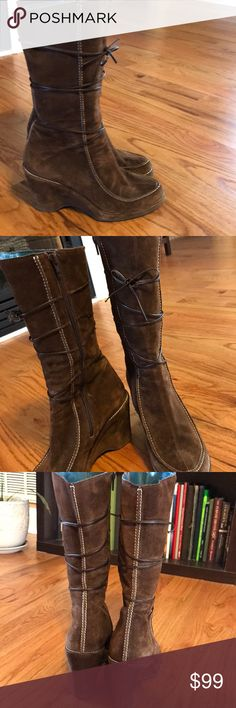 "Via Spiga ""Scramble"" Wedge Boots Very gently used brown suede side zip Via Spiga wedge boots.  Made in Italy. Size 8 M. Via Spiga Shoes Heeled Boots"