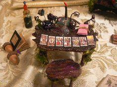 Miniature Tarot Card Desk & Stool Made by EnchantedFairyDreams, $37.00