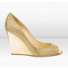 cad930095a6 Jimmy Choo Bello 100Mm Gold Glitter Fabric City Wedges