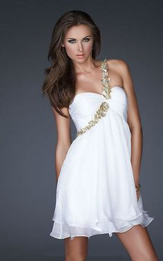 e95ff2259f5dd One Shoulder With Beading Chiffon Short White Prom Dress - boranbulm