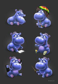 Hippo on Behance  by Anna Antracit Saint Petersburg,