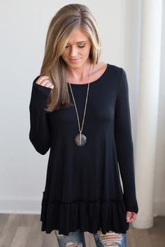 Shop our Nightcap Ruffle Hem Tunic. Black long sleeve tunic featuring tiered ruffle hem. Free shipping on all US orders.