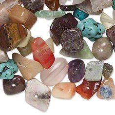 Bead mix, multi-gemstone / mother-of-pearl shell (natural / bleached / dyed / manmade / imitation) / glass, mixed colors, mini to extra-large chip and mini to small nugget. Sold per 1/2 pound pkg, approximately 600 beads.