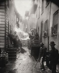 """Bandit's Roost,"" pictured above, was once considered the most dangerous part in all of New York City. By Jacob A. Riis (499×620)"