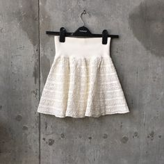 Marciano white lace flare skirt elastic In great condition. Elastic waist band Marciano Skirts