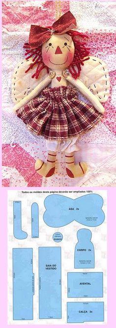 •❤° Nims °❤• angel  soft doll stuffed toy pattern template idea craft