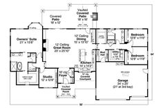 The impressive 1-story home's floor plan has 2880 square feet of heated and cooled living space with several amenities: • Wide utility room • Huge walk-in kitchen pantry • Vaulted ceiling in the Great Room • Fireplace in the Great Room • Mudroom with a bench #houseplan #floorplan European House Plans, Craftsman Style House Plans, Exterior Wall Materials, Floor Plan Drawing, Asphalt Roof Shingles, Floor Framing, Ranch Style Homes, Flat Roof, California Homes