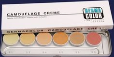 **Kryolan Derma Color Camouflage cream**  A concealer range great for professional use. Mix the colors on a steel palette to create the perfect match. It hides blemishes of all kinds, covers up tattoos and corrects most skin disfigurements and discolorations. It's great to have in your bridal kit as well: once you set it with the DC Fixing powder and setting spray it becomes waterproof, and it won't transfer onto the dress! It's extremely long lasting.