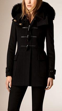 Black Fox Fur Trim Wool Duffle Coat - Image 1