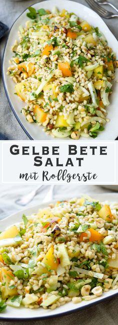 veganes Rezept für Gelbe Bete Salat mit Gerste (Rollgerste), Fenchel, Haselnüssen und Kräuter, gesunde, einfache Rezepte, vegetarisch, Getreide Salat