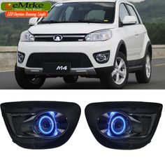 119.69$  Watch here - http://alibbl.worldwells.pw/go.php?t=32762240116 - EEMRKE 2in1 Fog Lights Lamp For Great Wall Haval M4 Halogen Bulbs H3 55W LED Angel Eye DRL Daytime Running Light 119.69$