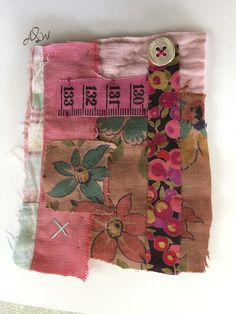 Teeny tiny card collages with just left over bits. These are sewn together by hand, no glue involved!