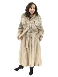 AMAZING White Sheared Mink Coat _ medium _ pre-owned _ belted _