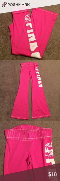 "$15 nwot Victoria's Secret pink lounge/yoga pants Nwot! Super comfy! ✔The price in the beginning of the title of my listings is the bundle price. These prices are valid through the ""make an offer"" feature after you create a bundle. These bundle orders must be over $15. Ask me about more details if interested.  ❌No trades ❌No holds PINK Victoria's Secret Pants Boot Cut & Flare"