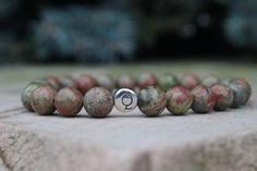 Men's Sterling Q Initial & Unakite Bracelet / earth by BeauBishop