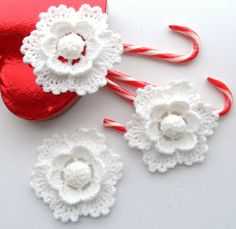 Crochet Christmas Ornament, Holiday Decoration Snowflake White Flower Applique - Set of 3